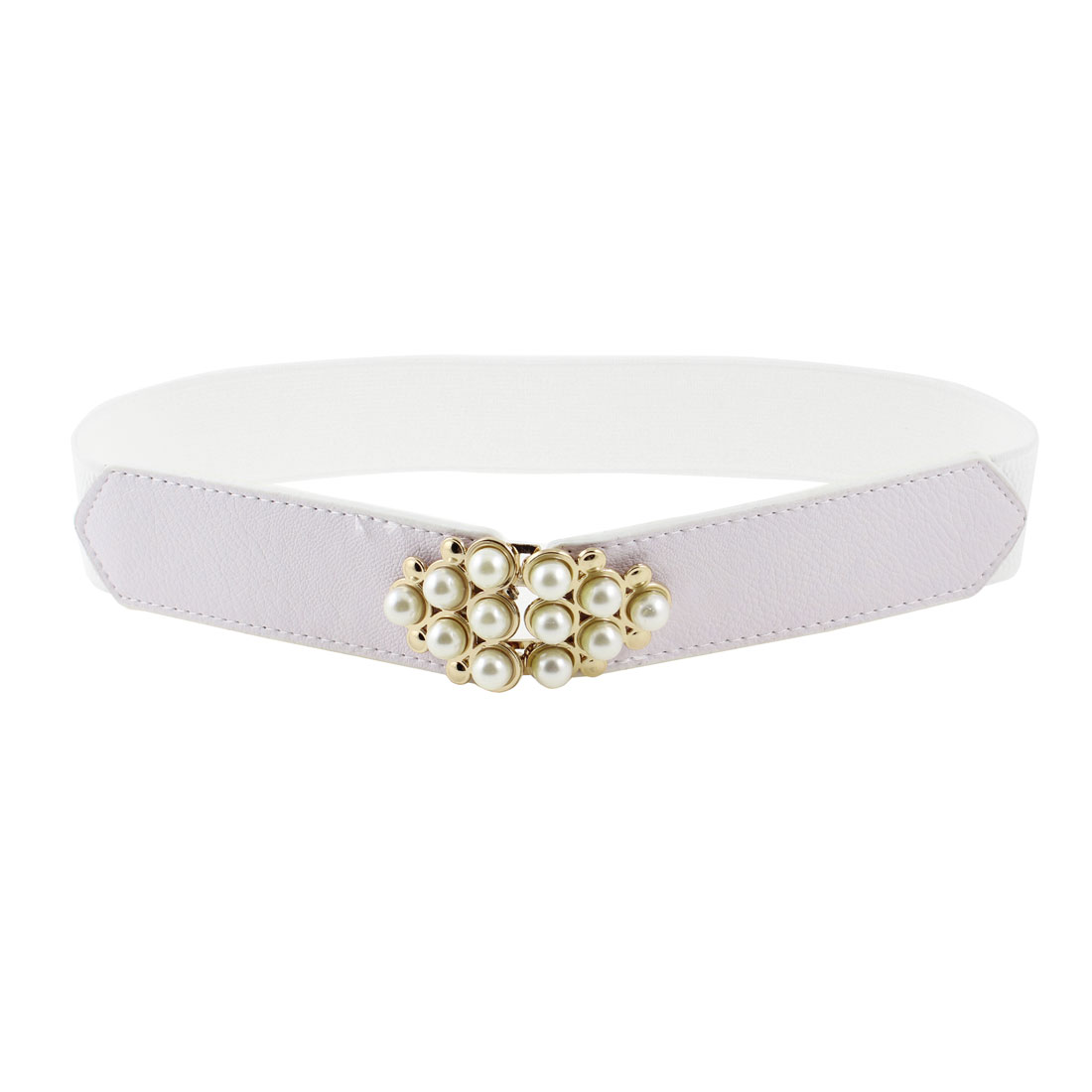 White Faux Pearl Metal Interlocking Buckle Elastic Band Waist Belt for Girls
