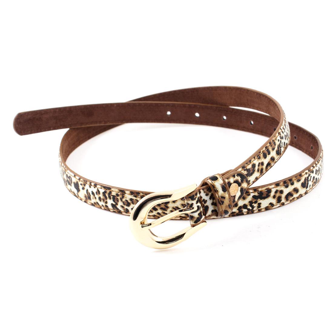 White Brown Leopard Pattern Single Pin Buckle Adjustable Waist Belt for Women