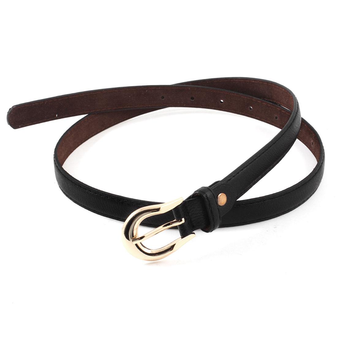 Women Black Faux Leather Single Pin Buckle Adjustable Pants Dress Waist Belt