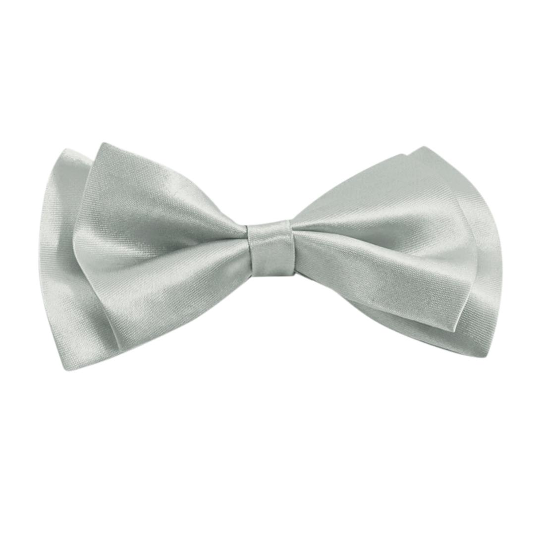 Women Pre-tied Adjustable Quick Clip-on Necktie Neckwear Bow Tie Gray