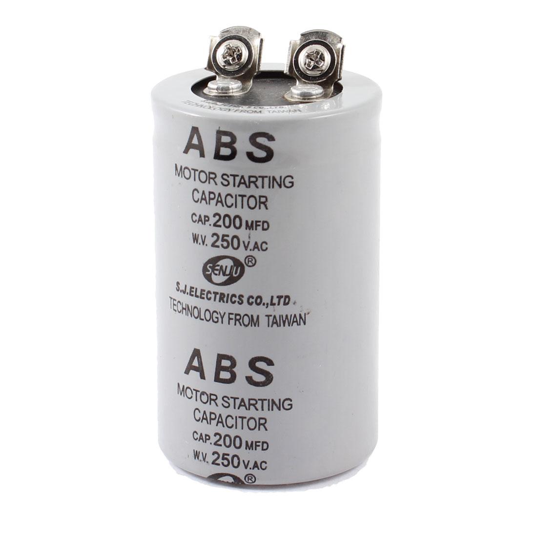 AC 250V 200uF 200MFD 2 Terminals Polypropylene Film Capacitor Gray