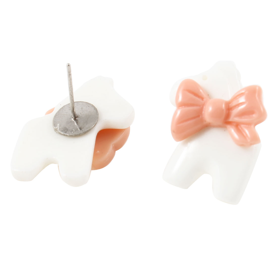 Women Pink White Plastic Horse Bowtie Decor Pierced Ear Nail Stud Earrings Pair