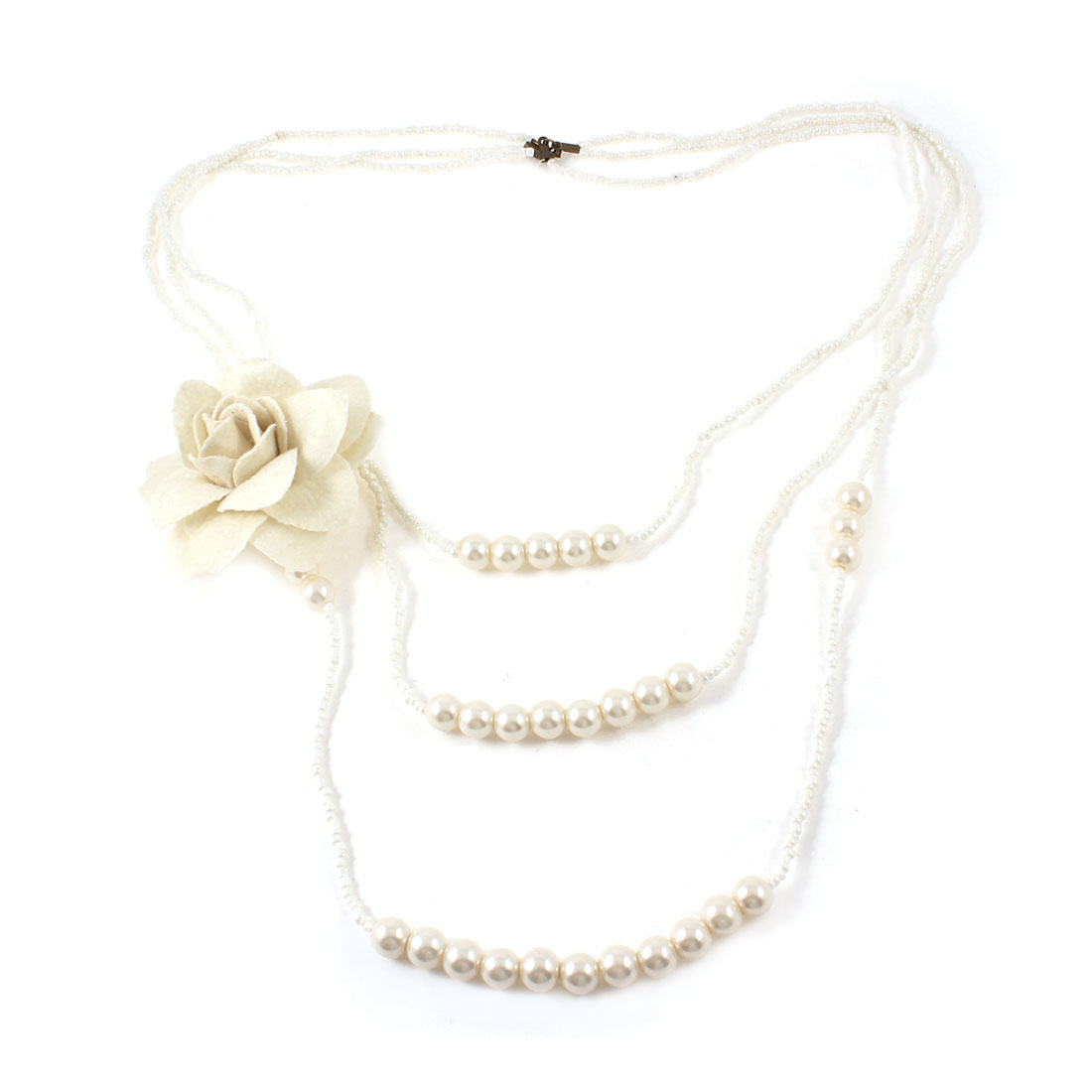 Women White Imitation Pearls Detail Sweater Necklace Flower Corsage Decor