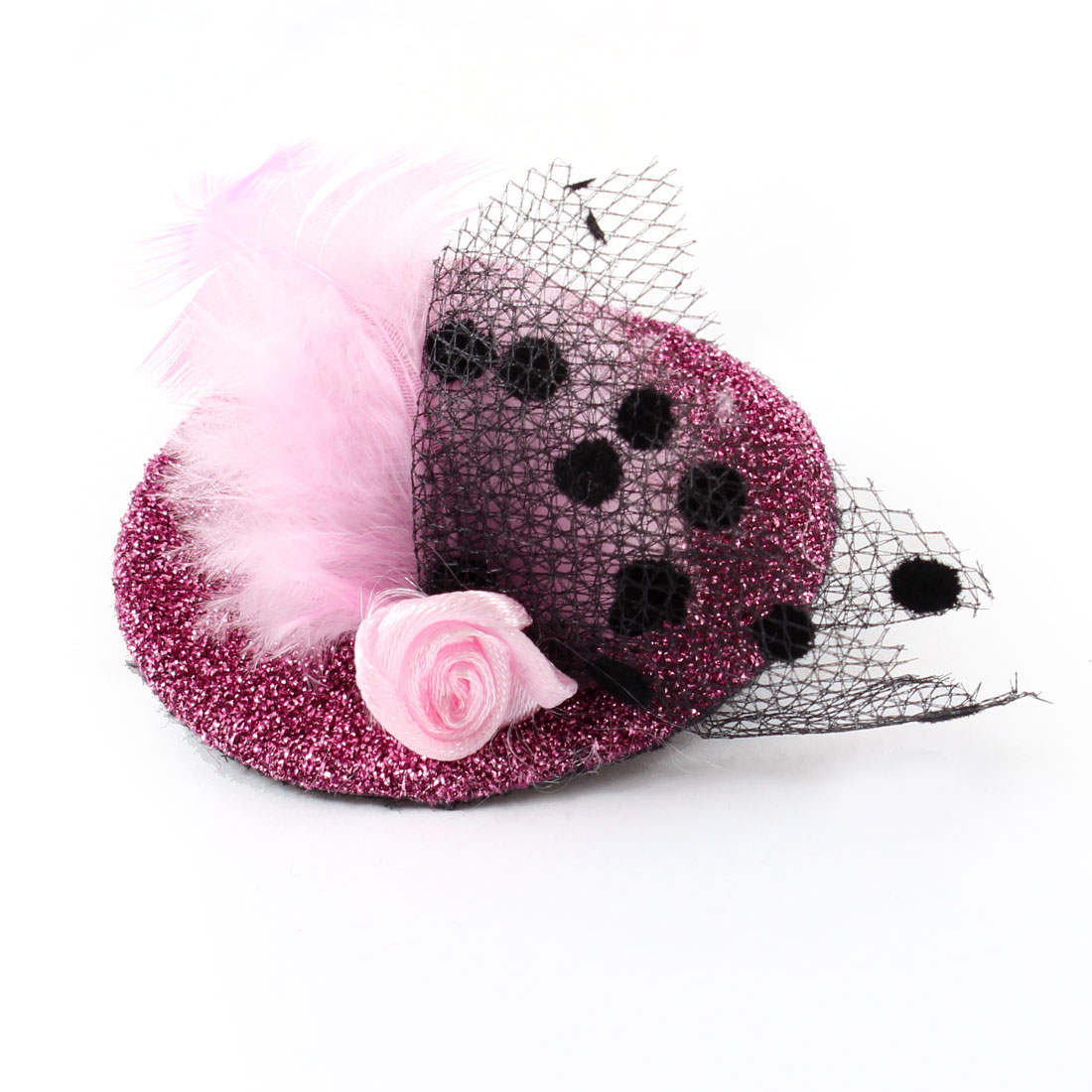 Fuchsia Flower Faux Feather Decor Top Hat Alligator Hair Fascinator Clip