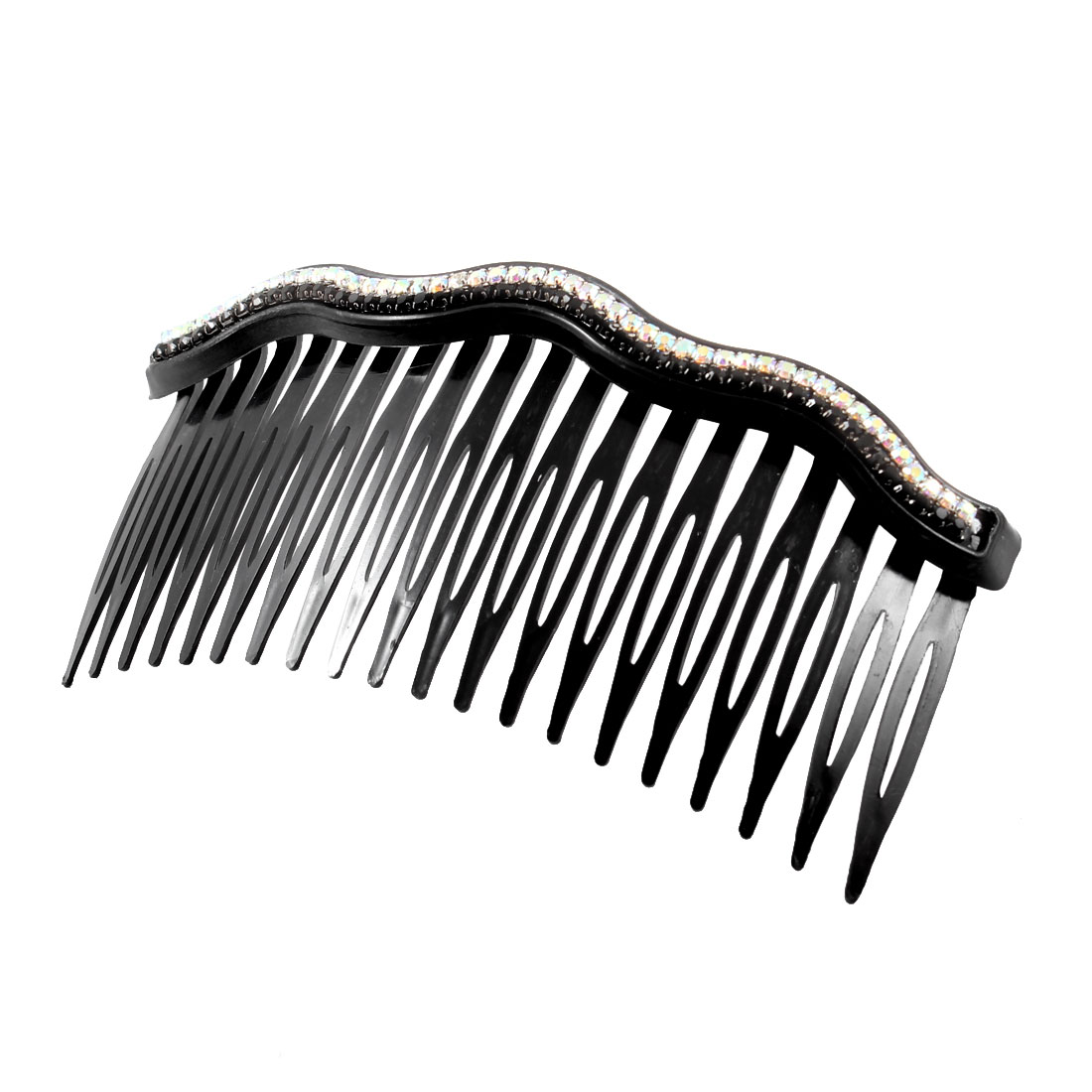 Lady Women Plastic Artificial Rhinestones Inlaid 20 Tooth Hair Comb Clip Black