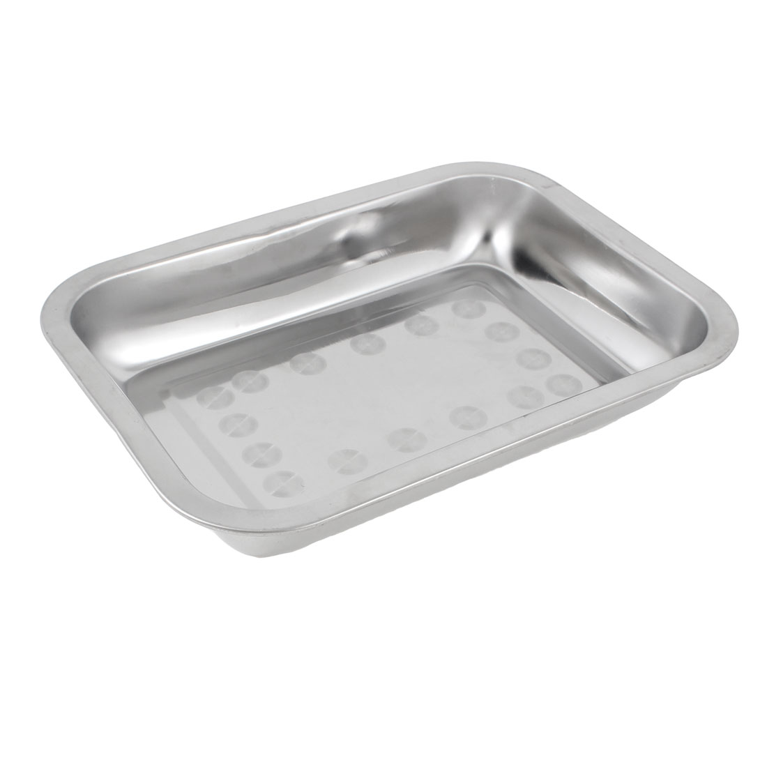 26cm x 19cm Rectangle Shape Stainless Steel Food Medicine Tray Plate