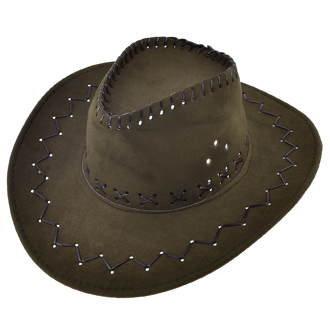 Man Hunting Adjustable Chin Strap Faux Suede Cowboy Hat Chocolate Color