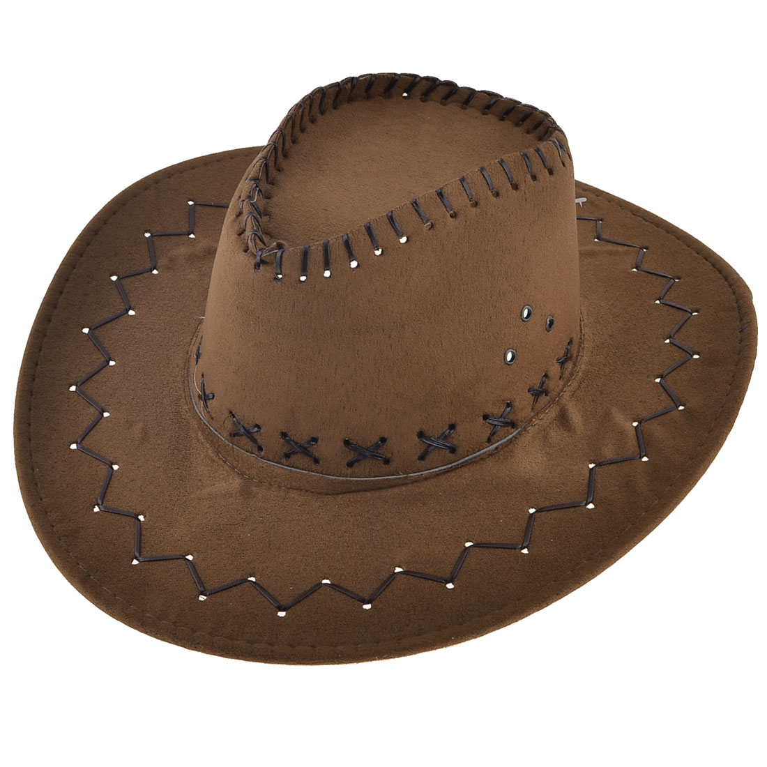 Man Hunting Adjustable Chin Strap Faux Suede Cowboy Hat Dark Brown