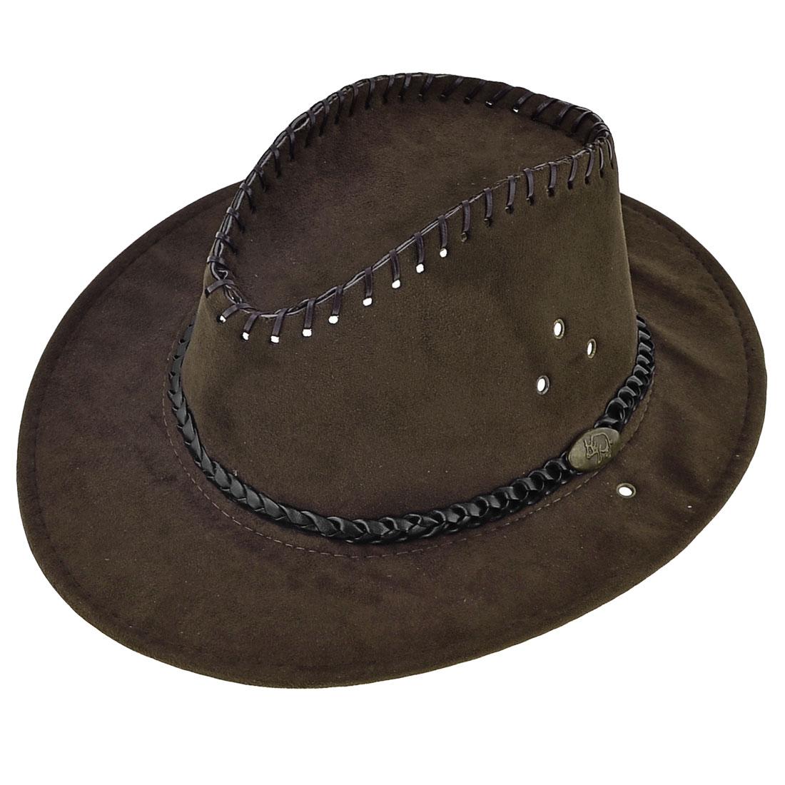 Men Strap Winding Rim Decor Faux Suede Flannel Cowboy Hat Coffee Color