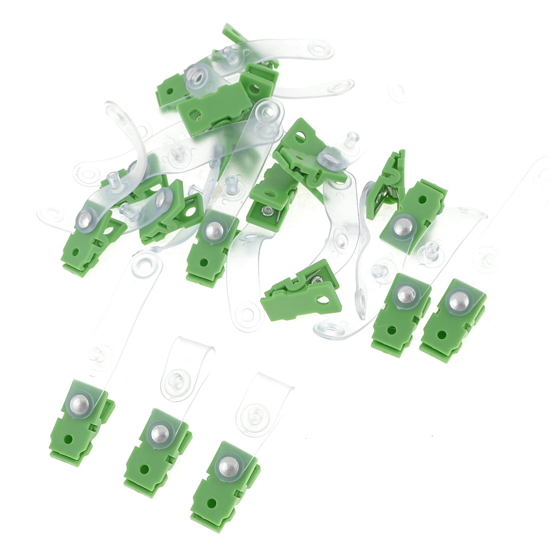 20 Pcs Green Clear Plastic Button Closure Office Work Badge Clip