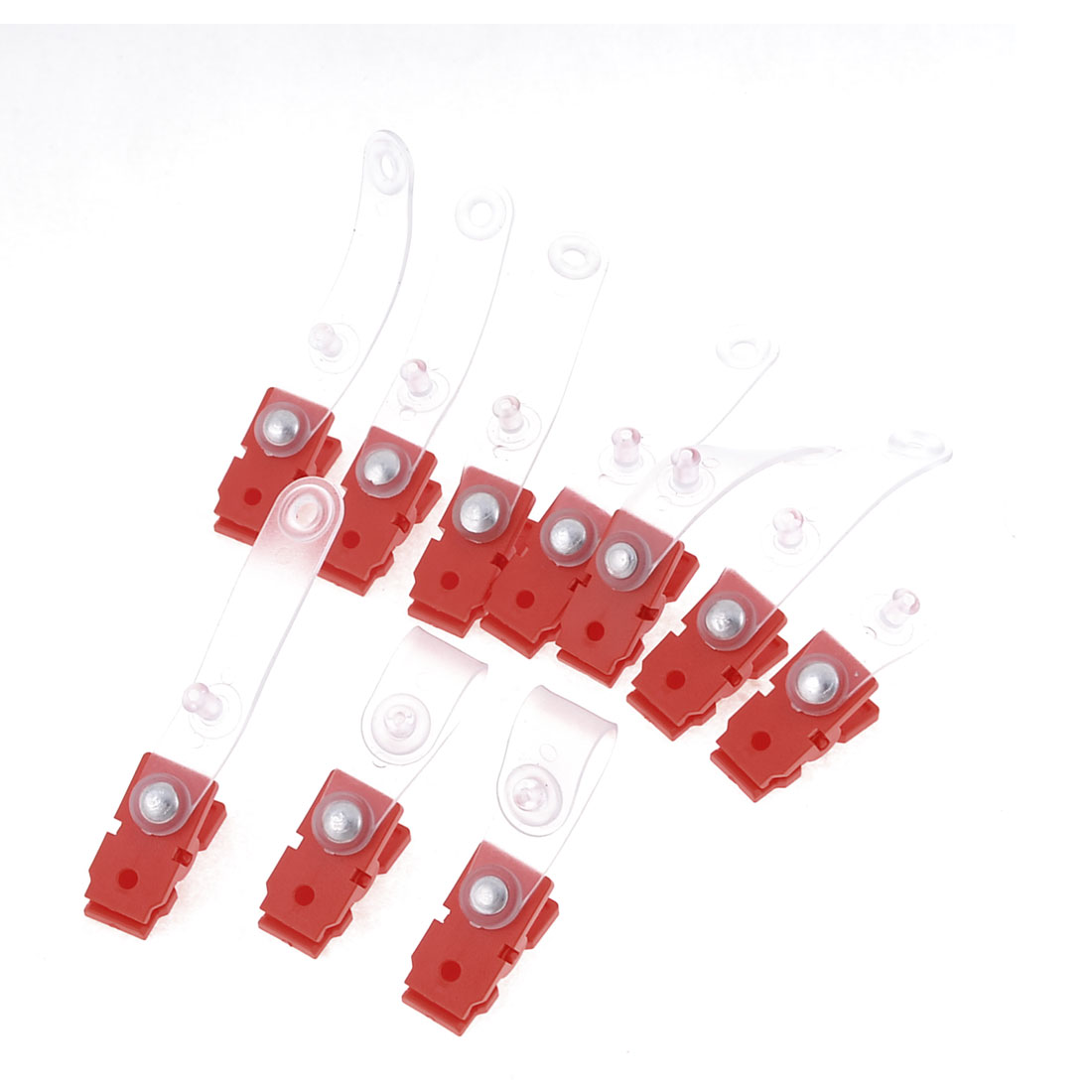 10 Pcs Office ID Card Name Tag Holder Badge Strap Clip Red Clear