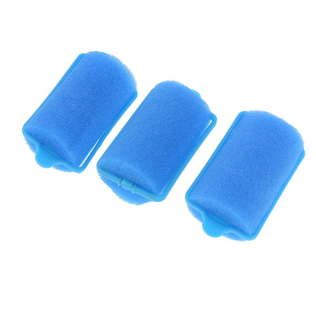Ladies Blue Spong Curlers Beauty Tools Hair Roller 3 Pcs
