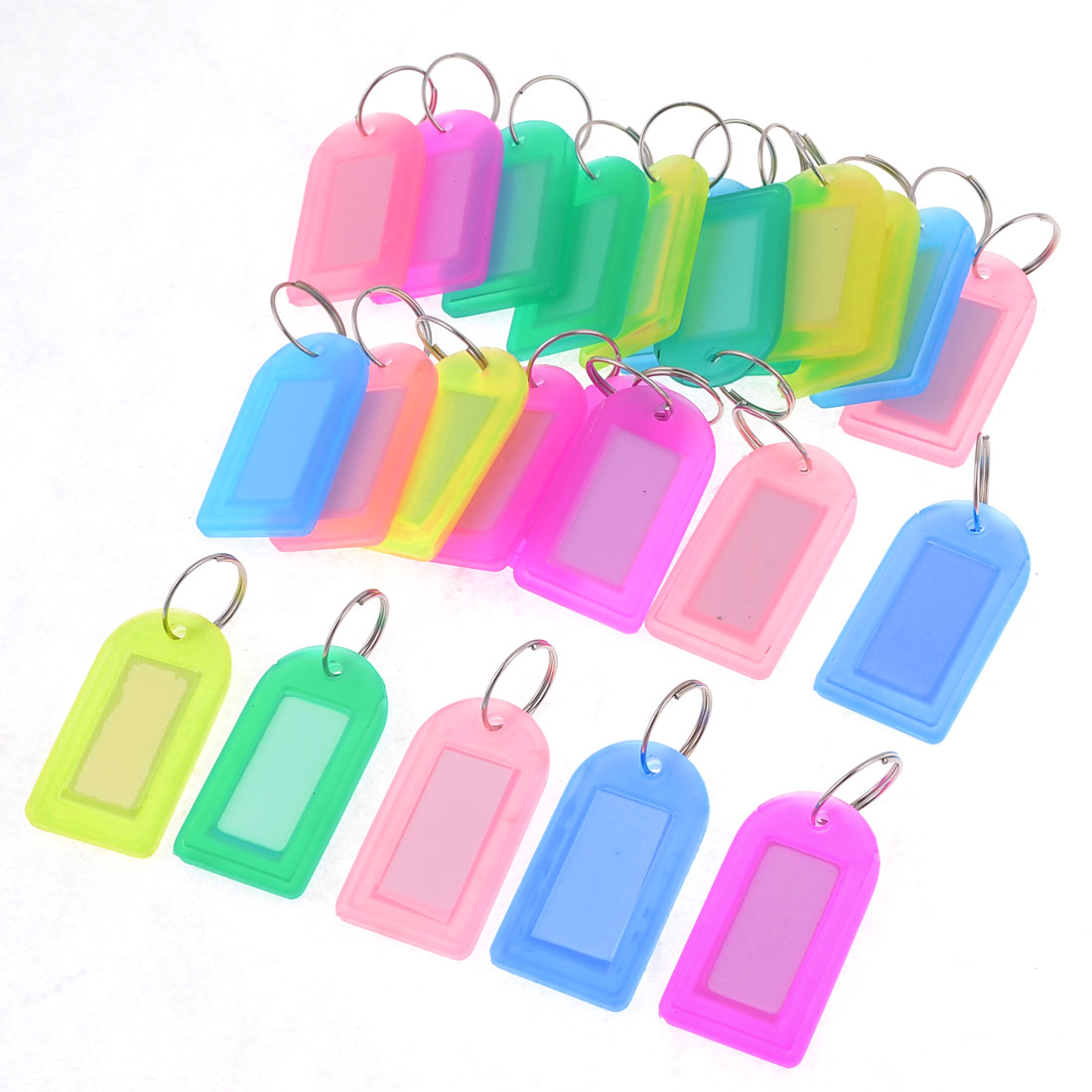 25 Pcs Plastic Name Tag Badge Clip Holder Keychain Assorted Color