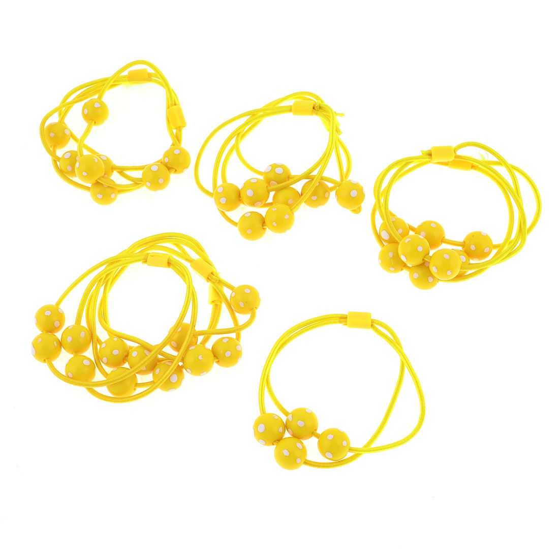 Women Plastic Beads Decor Yellow Elastic Hairband Ponytail Holder 10 PCS