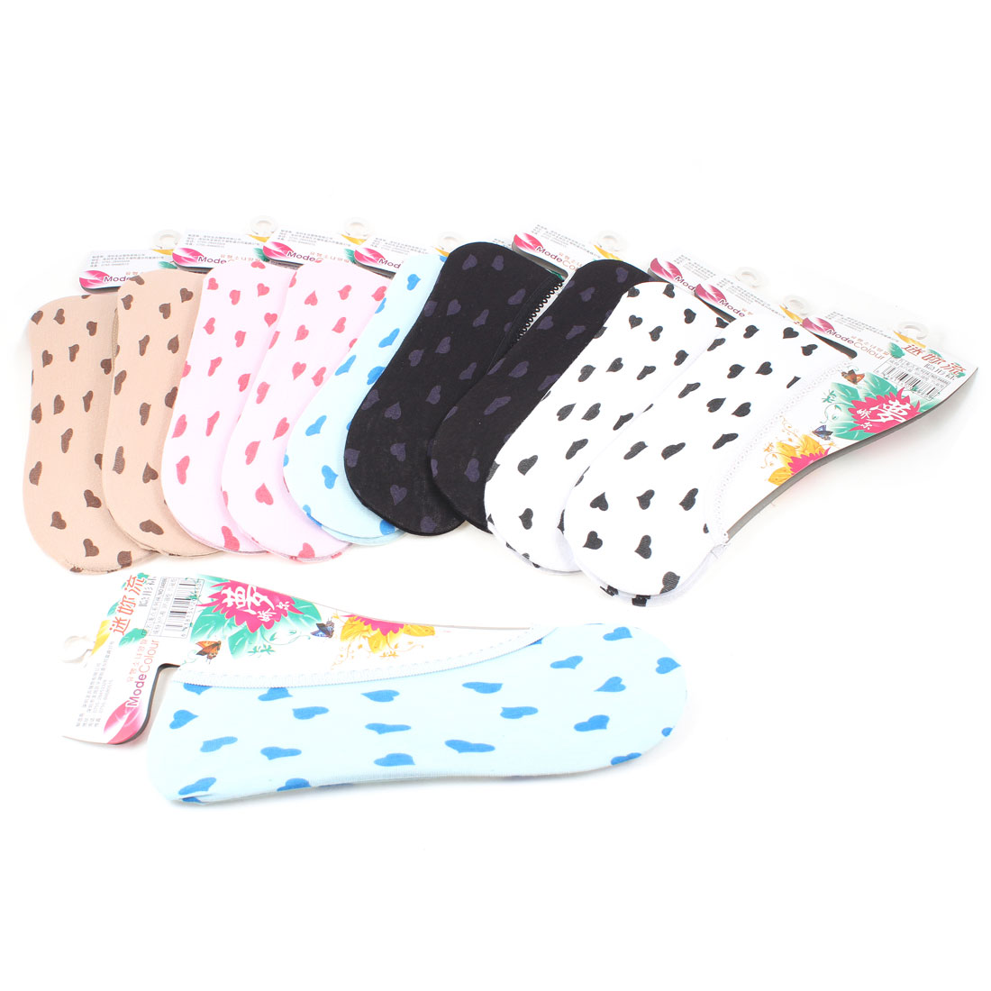 Woman Summer Multicolor Elastic Cuff Invisible Footsie Boat Socks 10 Pairs