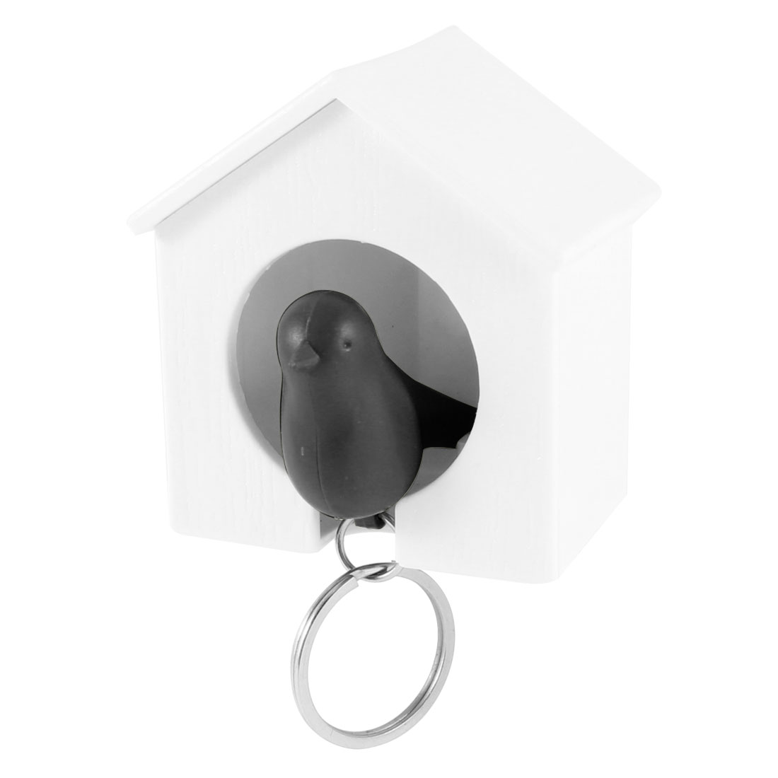 White Sparrow House Black Bird Shaped Key Ring Chain w Plastic Whistle