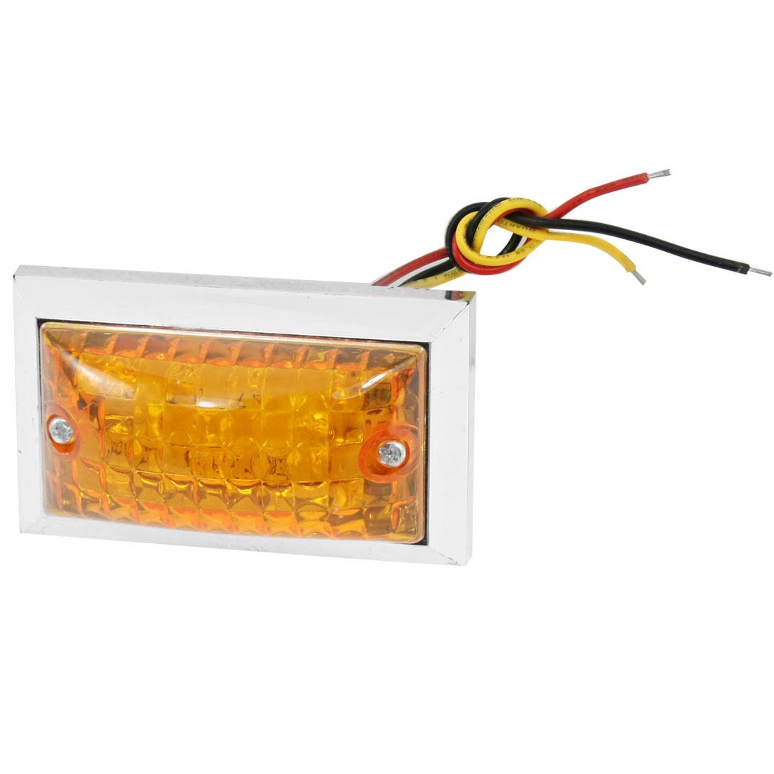 Car Vehicle Yellow Plastic Lens 8 LED Front Fender Side Light Lamp