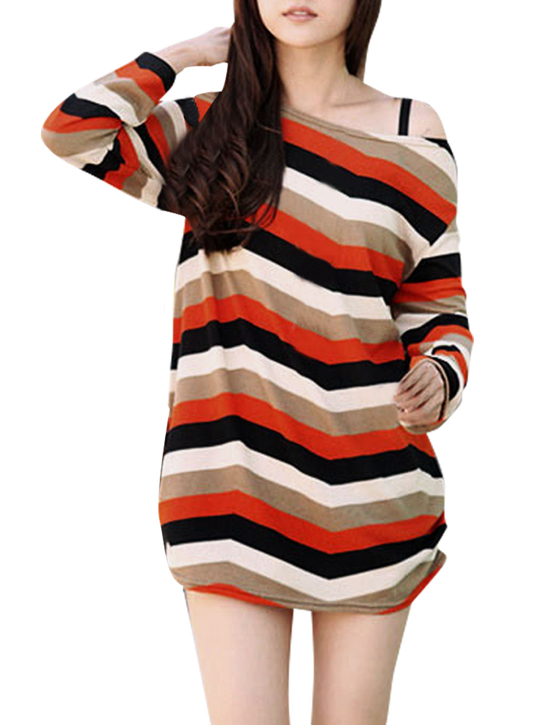Women Long Sleeved Round Neck Multicolor Zig-Zag Knit Tunic Shirt S
