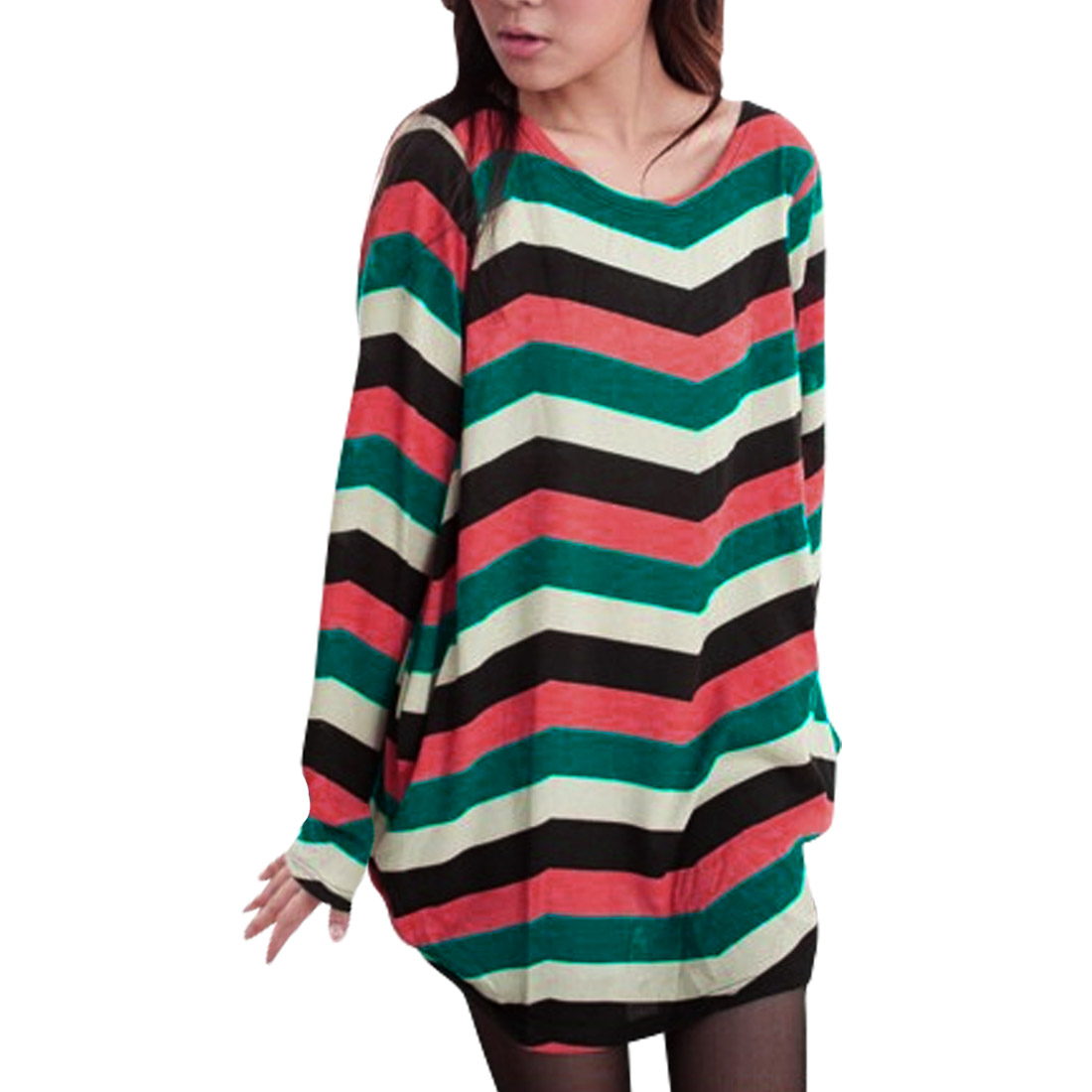 Women Round Neck Long Sleeved Multicolor Zig-Zag Knit Tunic Shirt S