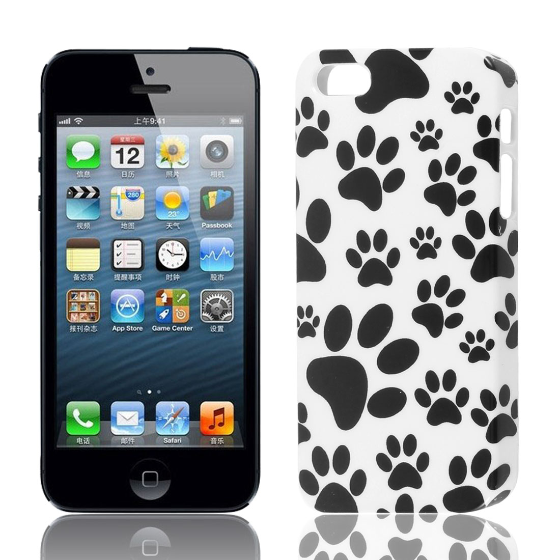 Paw Printed Hard Plastic Back Case Cover White Black for Apple iPhone 5 5S