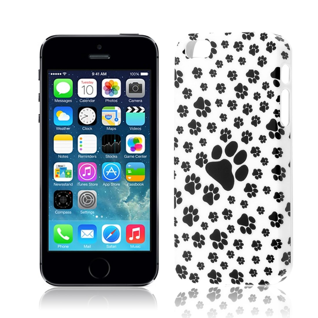 Paw Pattern Hard Plastic Back Case Cover White Black for Apple iPhone 5 5S