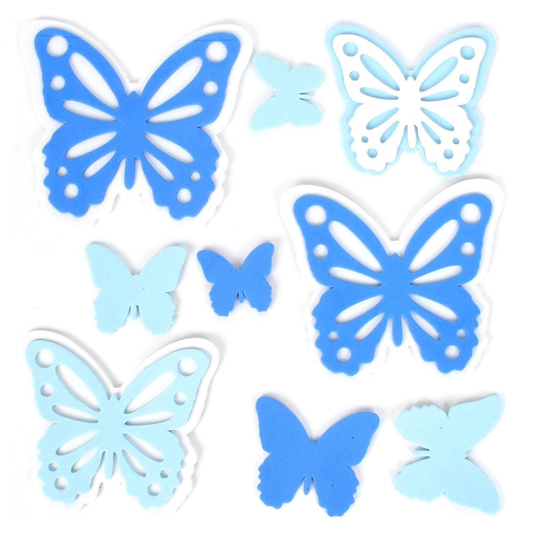 Home Bathroom Decor Butterfly 3D Foam Wall Sticker Set DIY Blue White