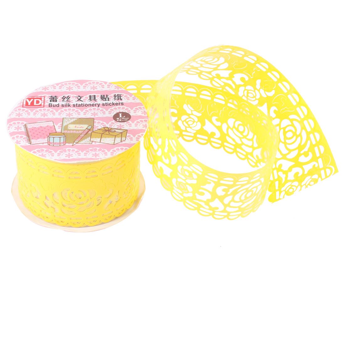Hollow Lace Diary Stationery Plastic Decorative Sticker Adhesive Tape Yellow
