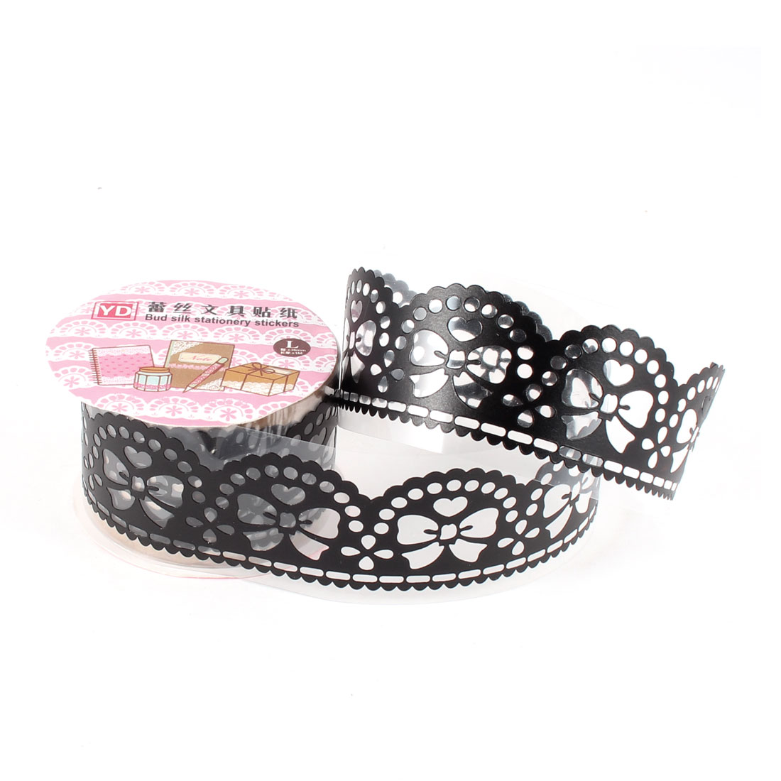 Hollow Lace Diary Stationery Plastic Decorative Sticker Adhesive Tape Black
