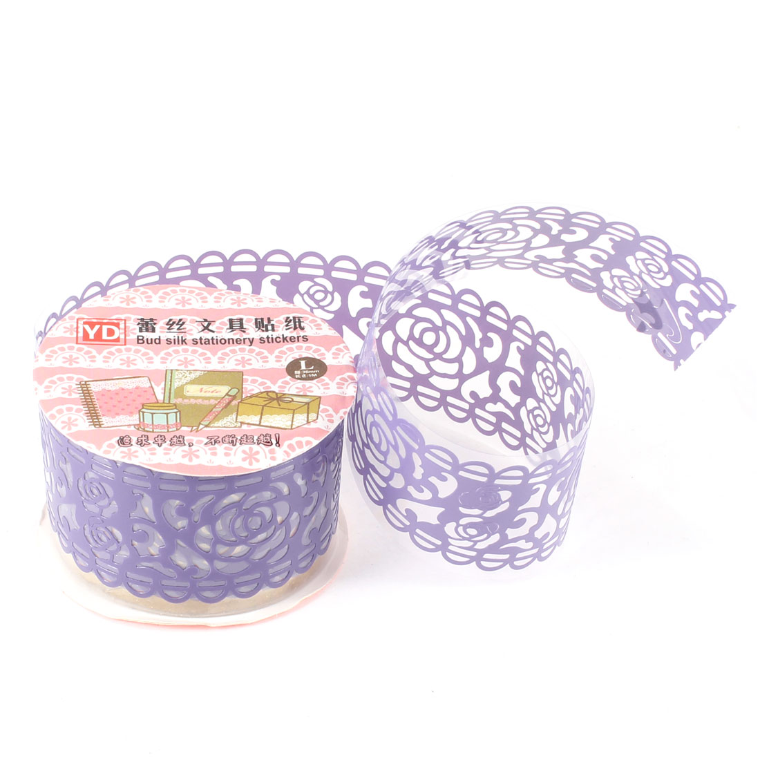 Hollow Lace Diary Stationery Plastic Decorative Sticker Adhesive Tape Purple