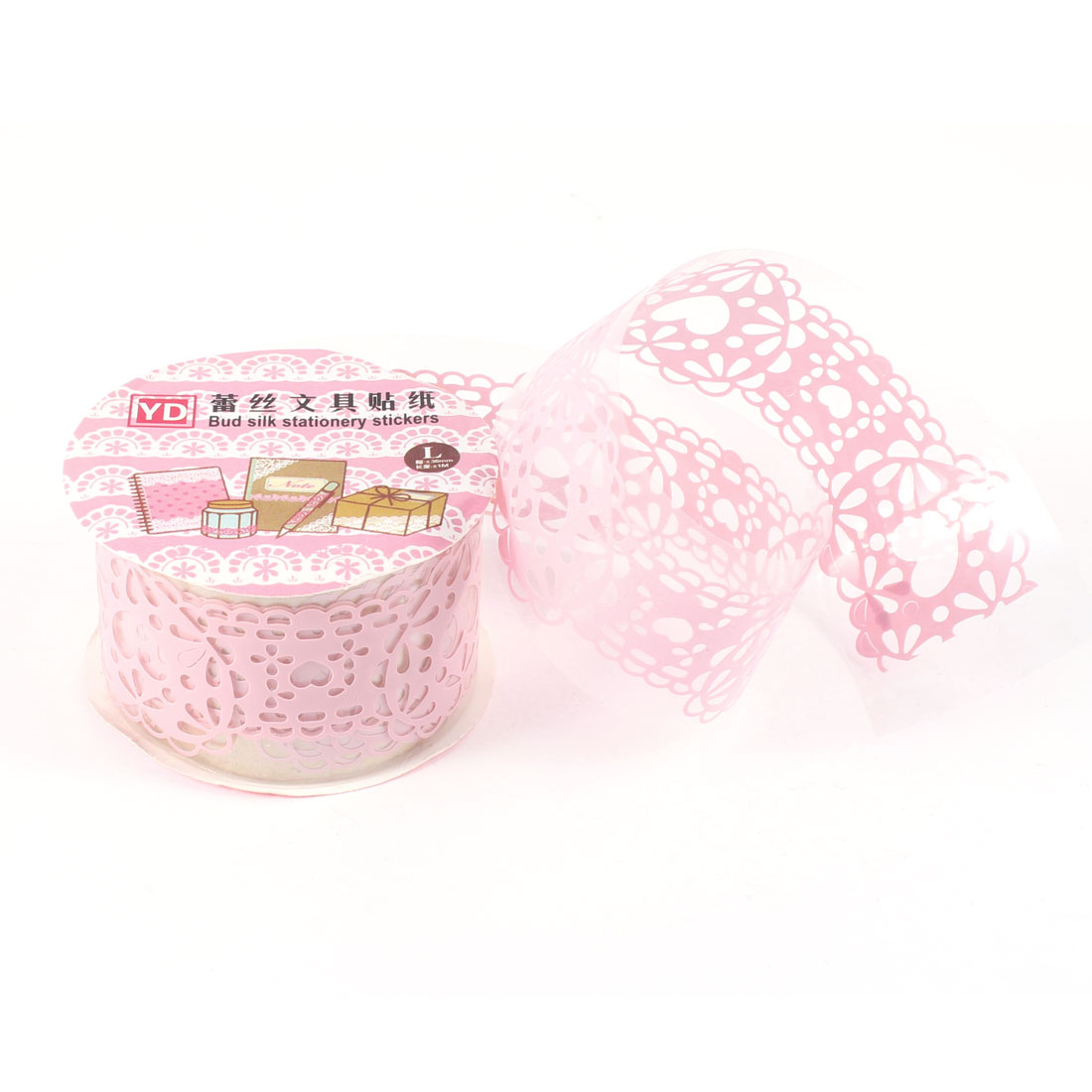 Heart Hollow Lace Diary Stationery Plastic Decorative Sticker Adhesive Tape Pink