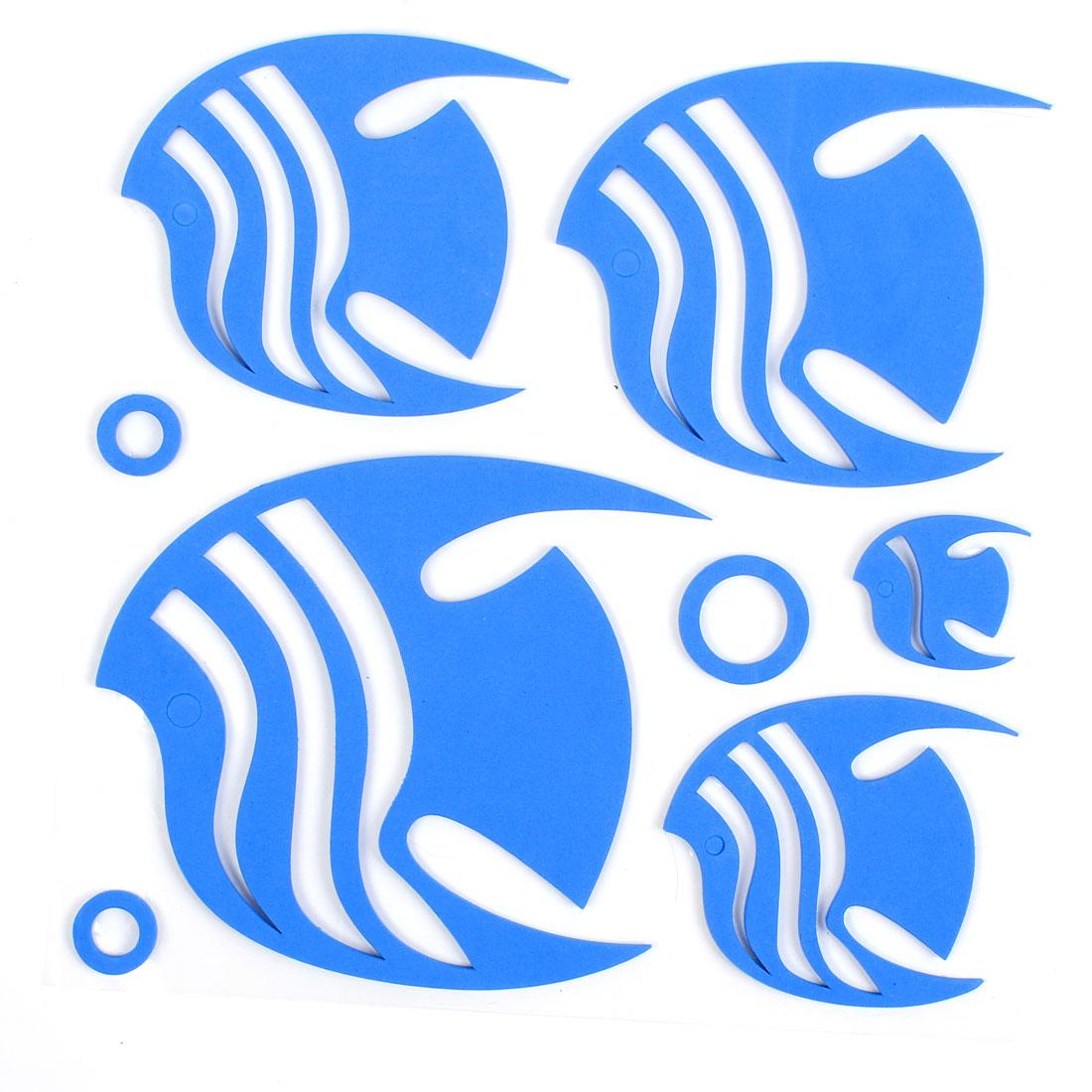 Home Bathroom Decor 3D Fish Shape Foam Wall Sticker Decal DIY Blue
