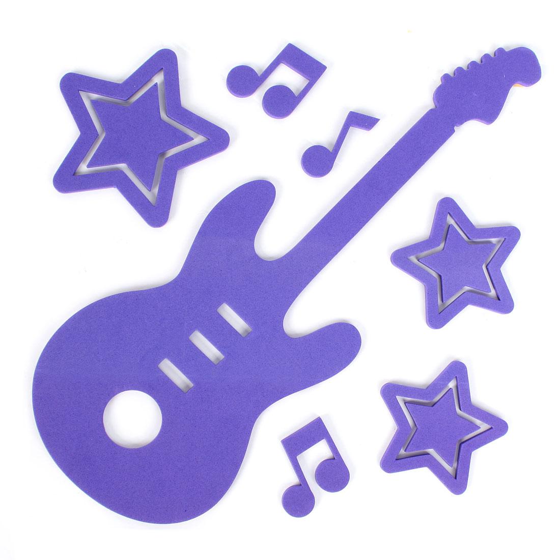 Home Bathroom Decor 3D Guitar Shape Foam Wall Sticker Decal DIY Purple