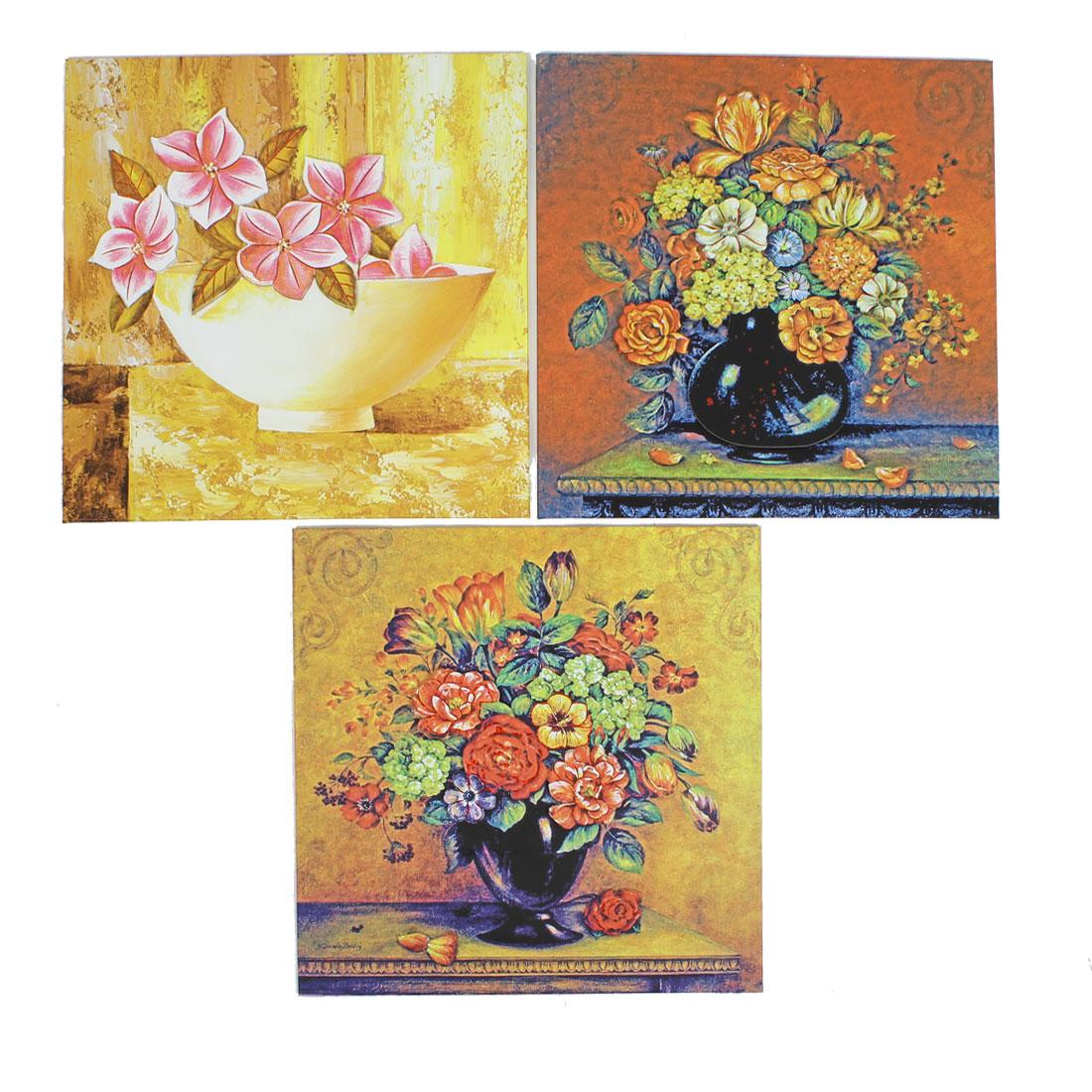 3 Pcs Home Flower Vase Paintings Tiles Wall Decor Hard Paper Sticker