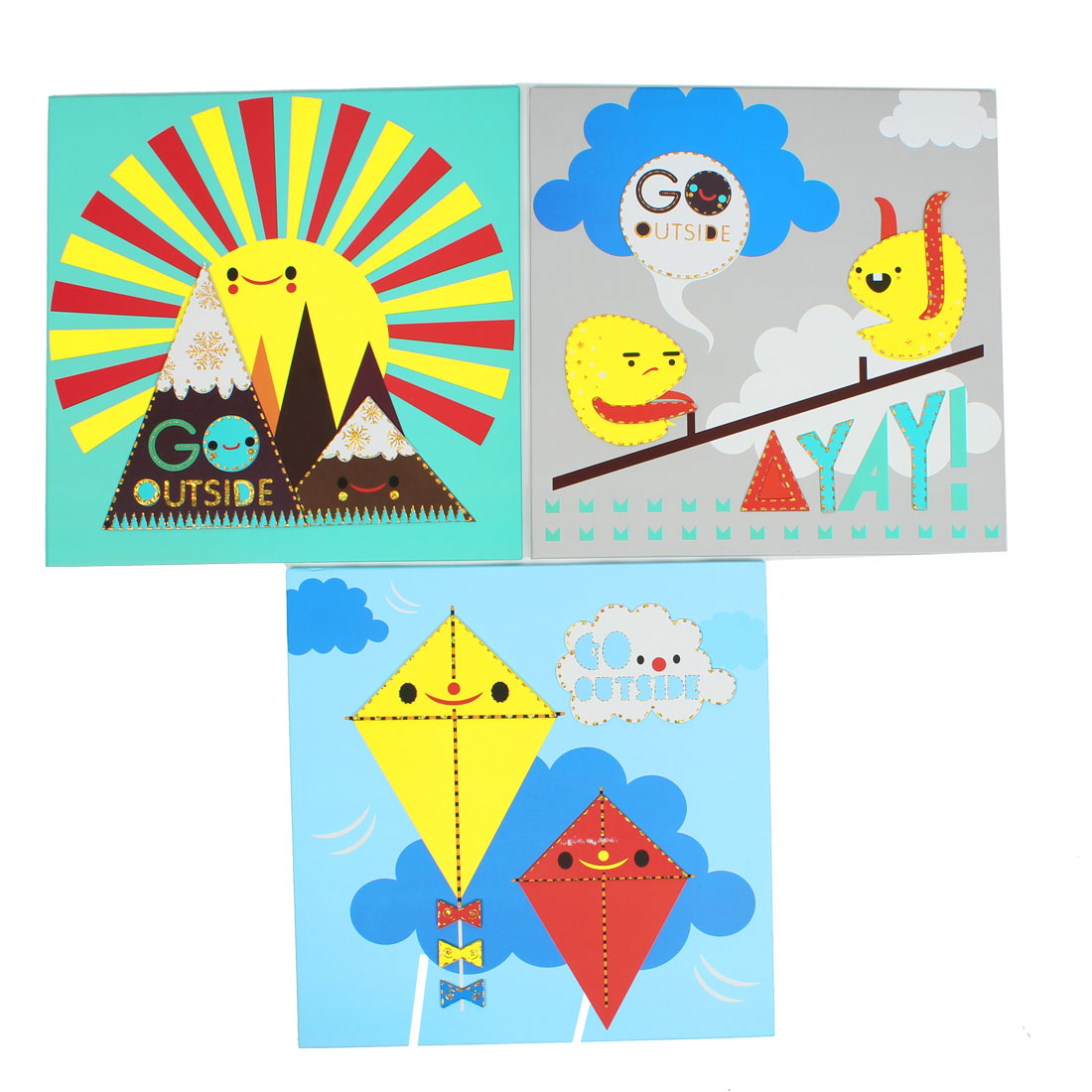 3 Pcs 30cm x 30cm Cartoon Outside Scenery Printed Paintings Tiles Wall Decor Hard Paper Sticker