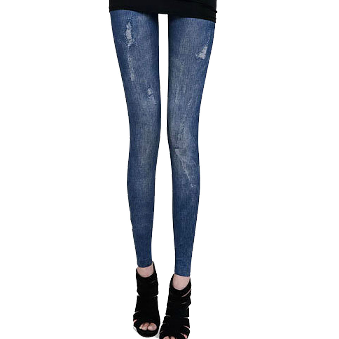 Women Destroy Pattern Stretchy Skinny Close-fitting Leggings Blue XS