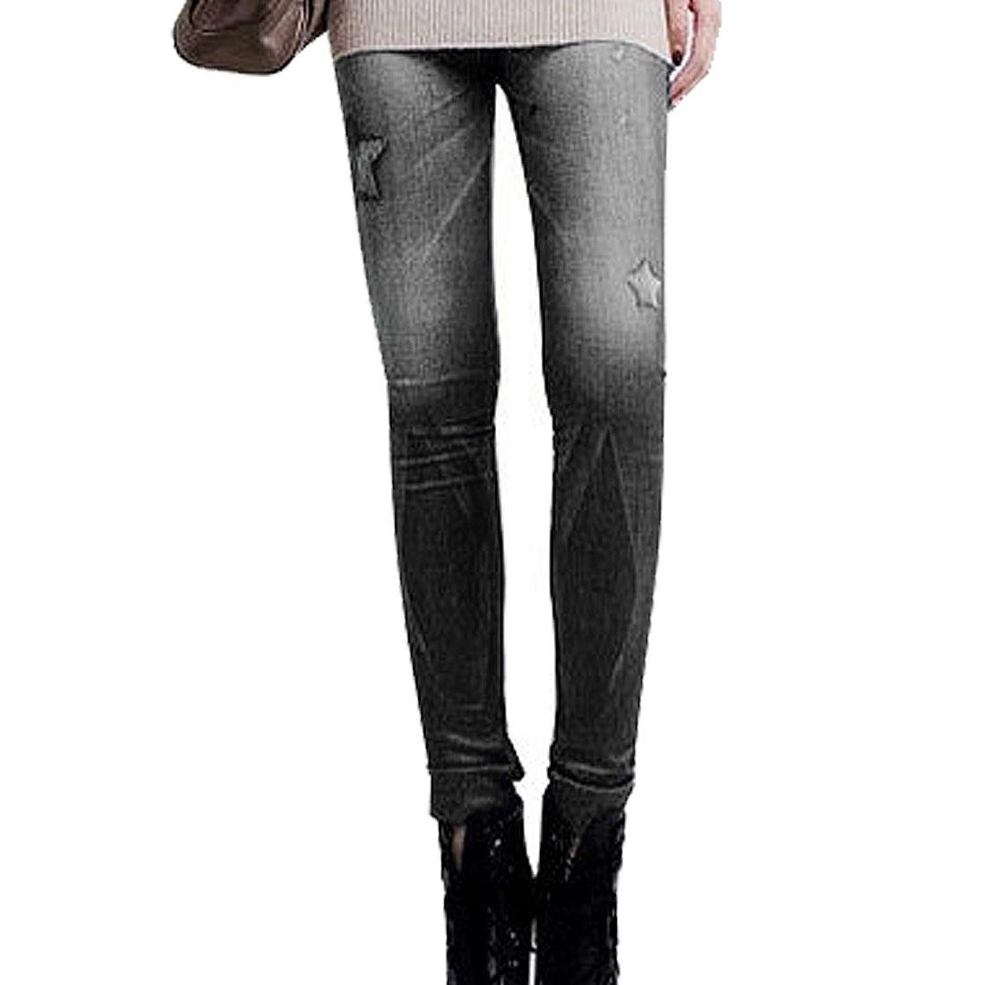 Women Star Pattern Stretchy Skinny Close-fitting Leggings Black XS