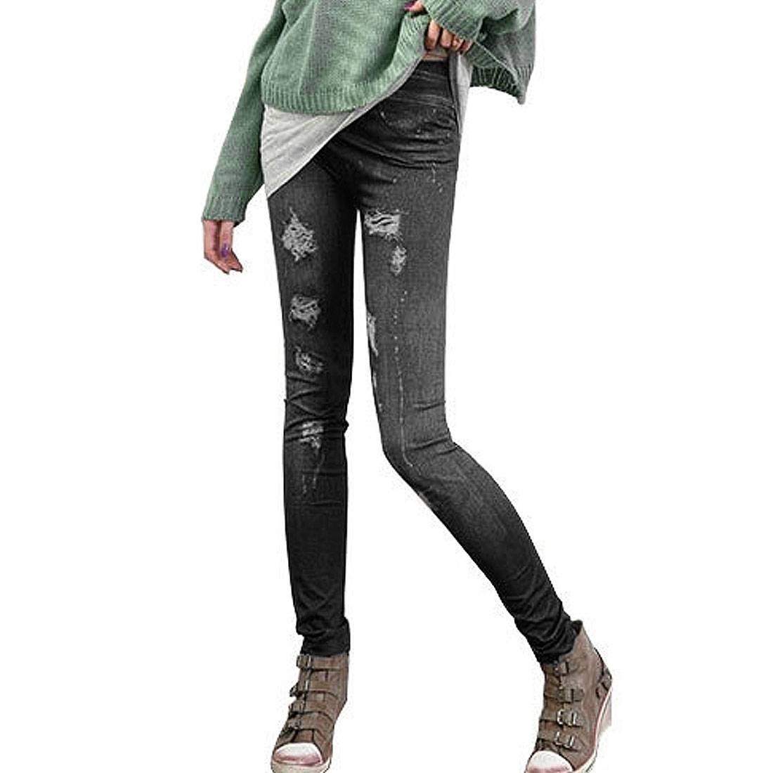 Autumn Distressed Pattern Mid Rise Slim Fit Leggings Black XS for Ladies