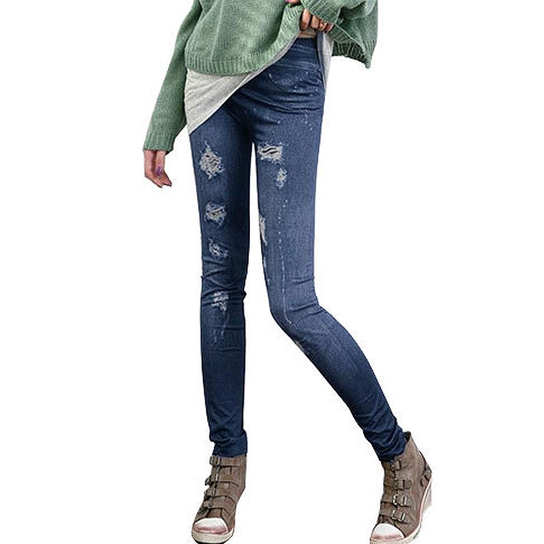 Ladies Elastic Waist Distressed Pattern Slim Scrawl Trousers Leggings Blue XS