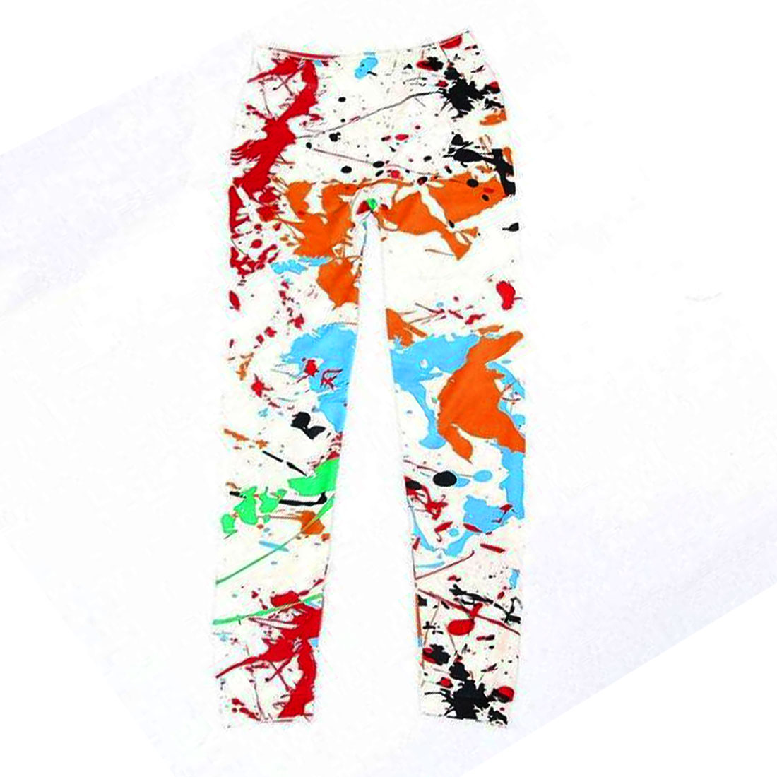 Women White No Seam Side Splashed Ink Pattern Stylish Leggings S