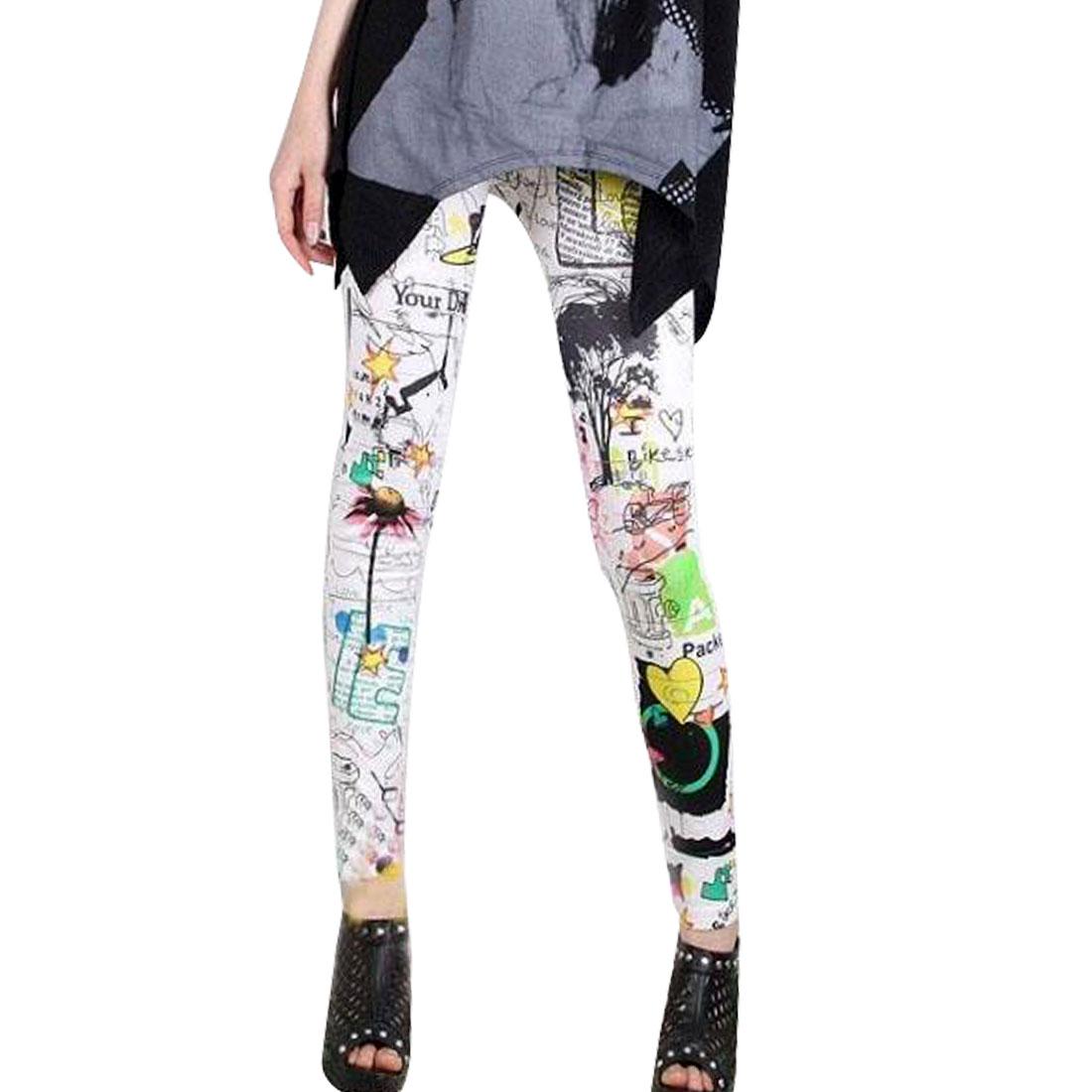 Ladies Sunflower Pattern No Seam Side Stylish Leggings Colorful S