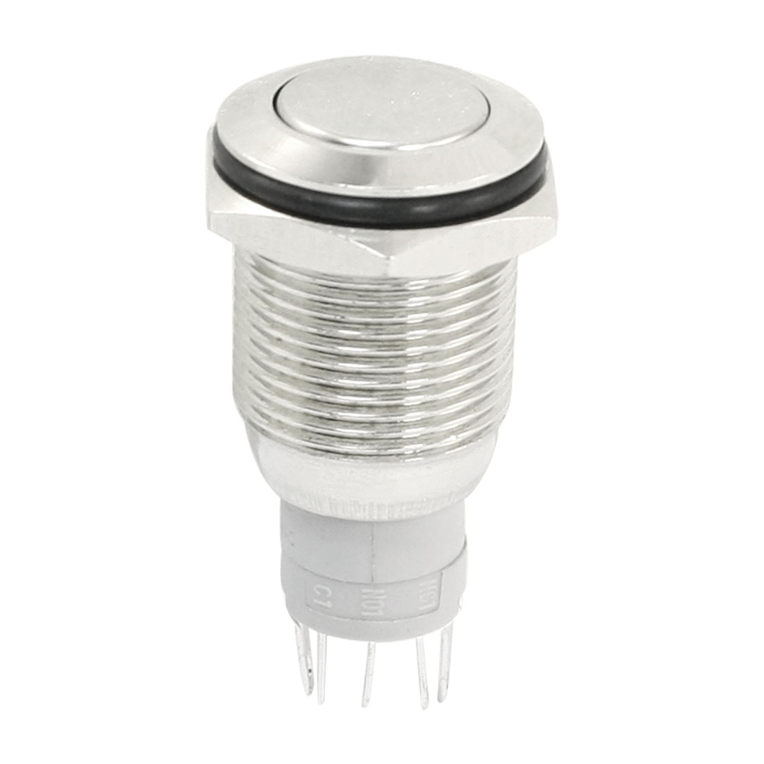 Silver Tone Stainless Steel SPDT Latching Push Button Switch AC250V 3A