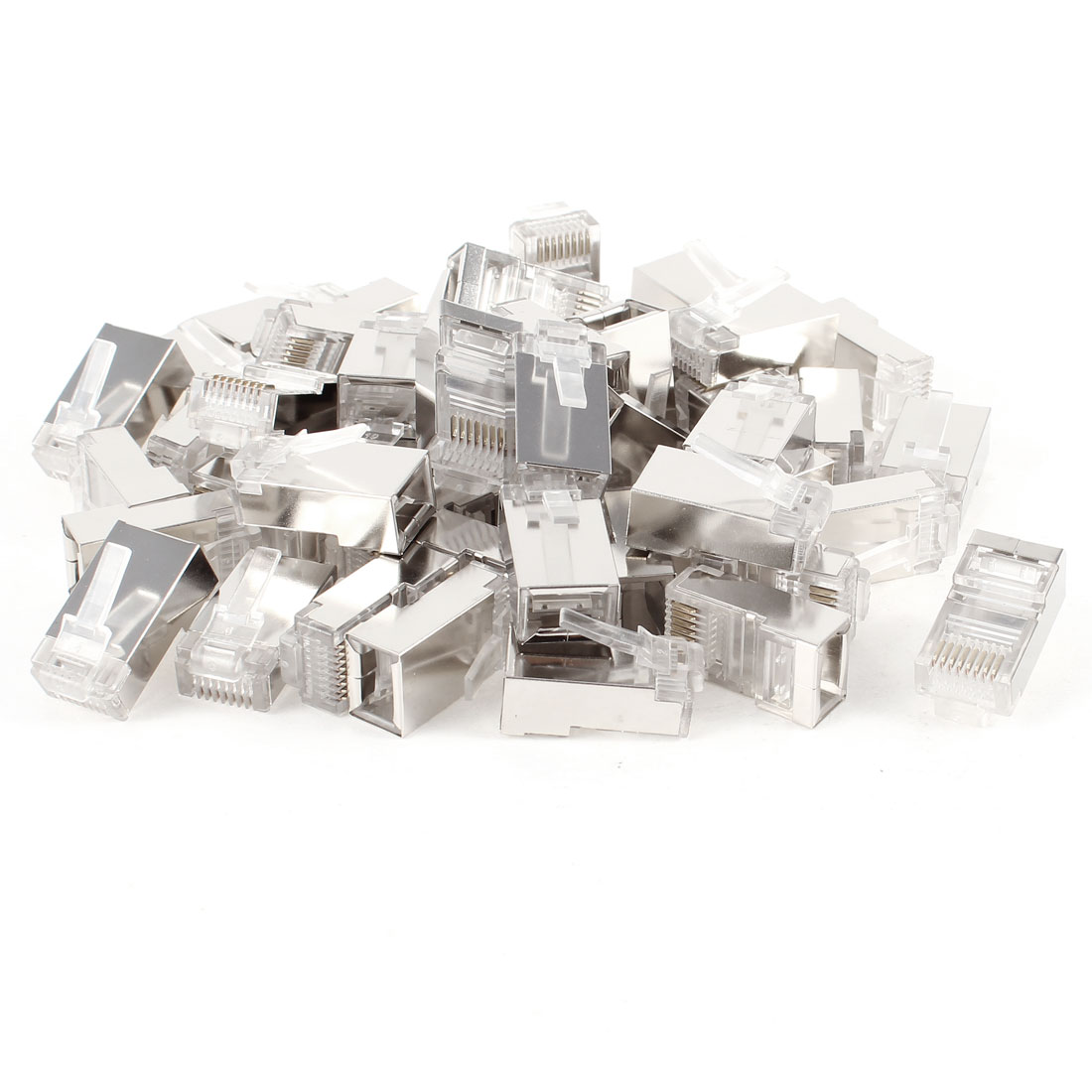 50 Pcs Metal Housing Shielded RJ45 8P8C Male Modular Network Jack