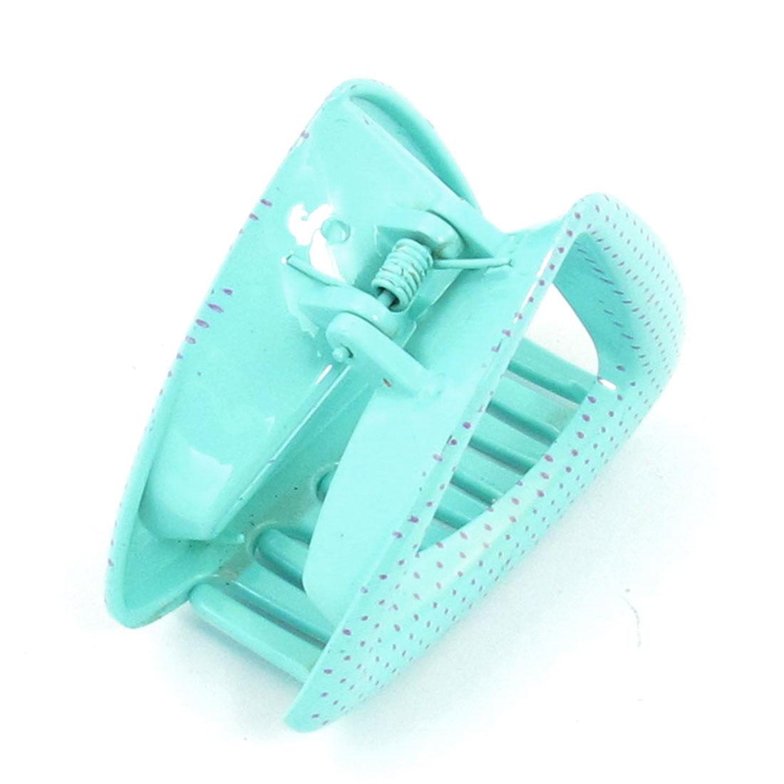 Women Dots Print Triangle Design Barrette Hair Claw Clamp Hairclip Light Green