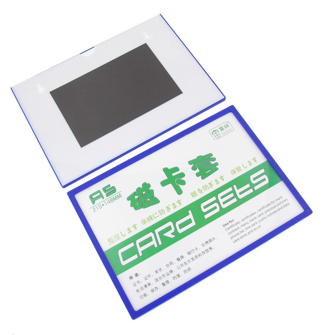 2pcs Office Blue Plastic Brim Certificates Contract Cards Magnetic Holder