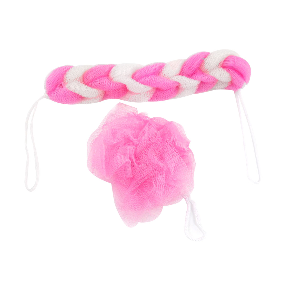 2 Pcs Bathroom Straps Design Pink White Nylon Meshy Bar Ball Bath Shower Pouf