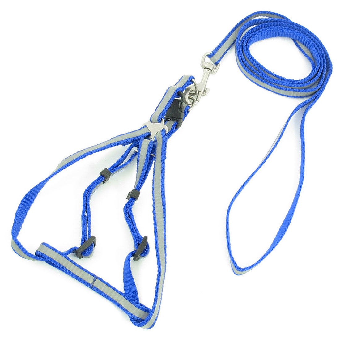 1.2M Lead Nylon Doggie Dog Collar Halter Harness Leash Blue Silver Tone