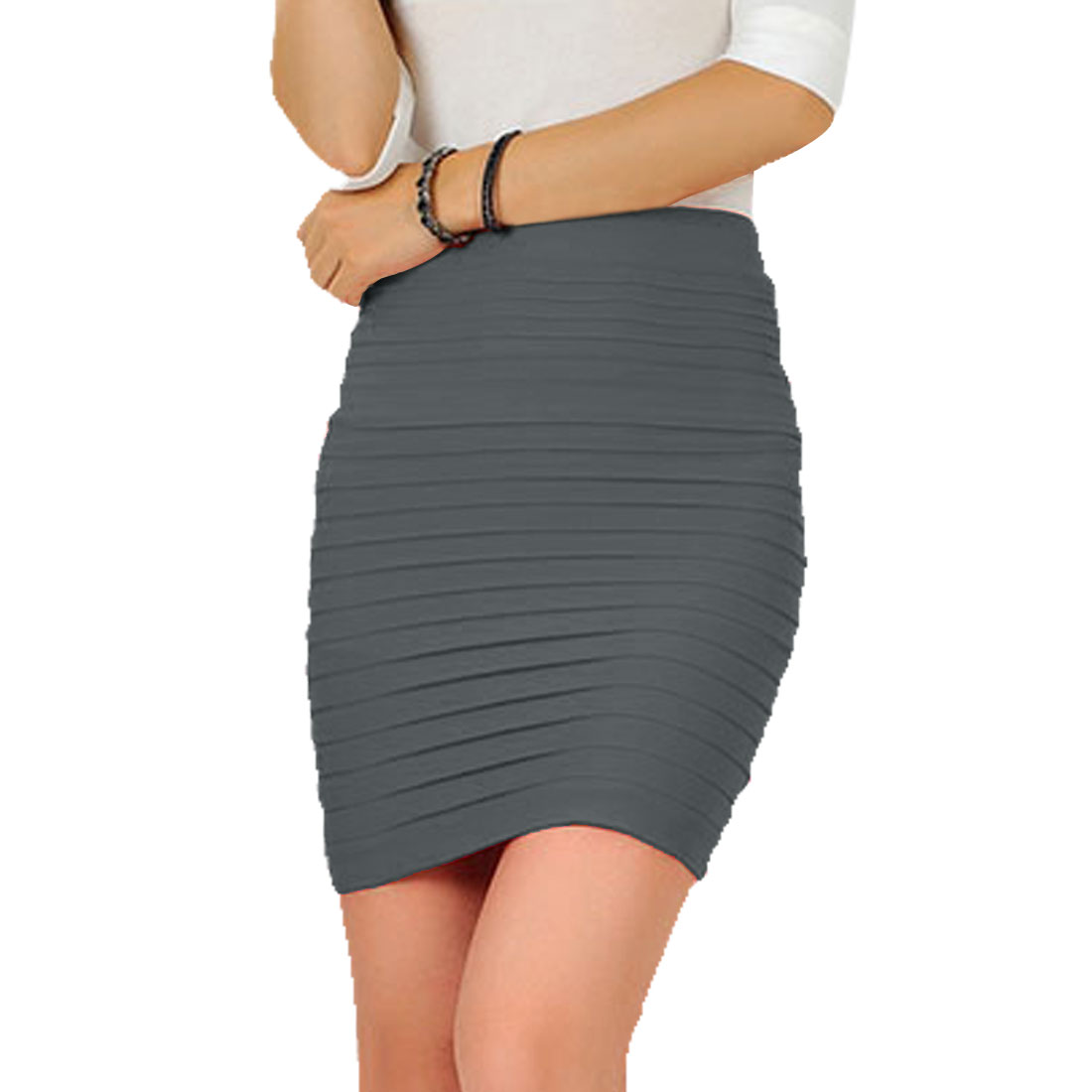 Women Solid Dark Gray Layered Design Stretchy Mini Skirt XS