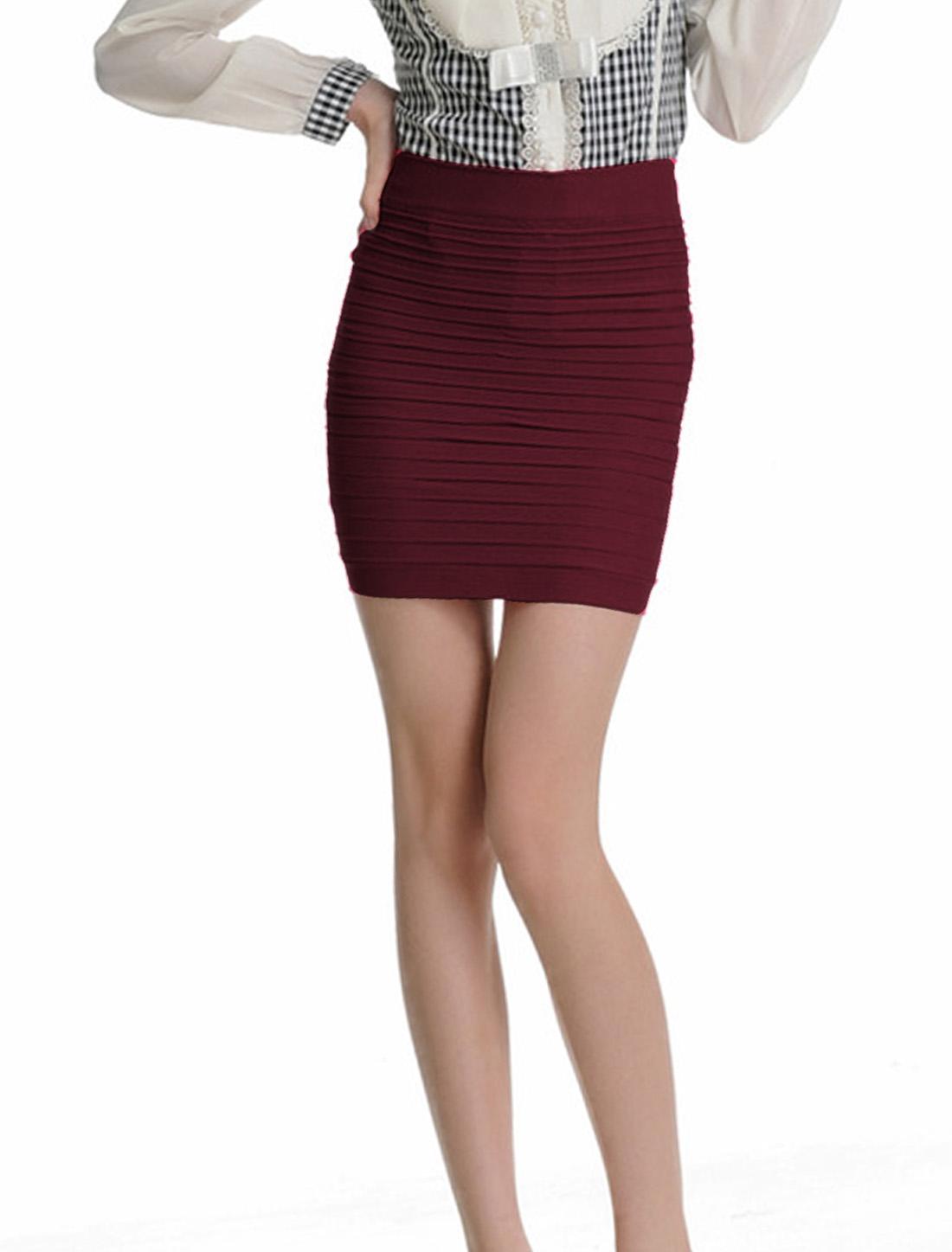 Women Burgundy Layered Design Stretchy Summer Mini Skirt XS