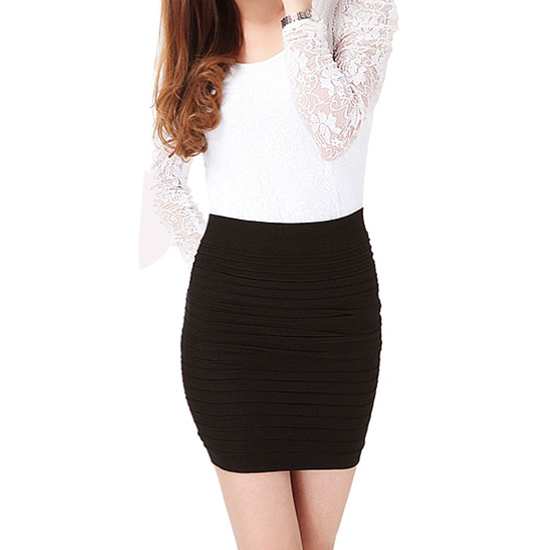 Women Solid Coffee Color Layered Design Stretchy Mini Skirt XS