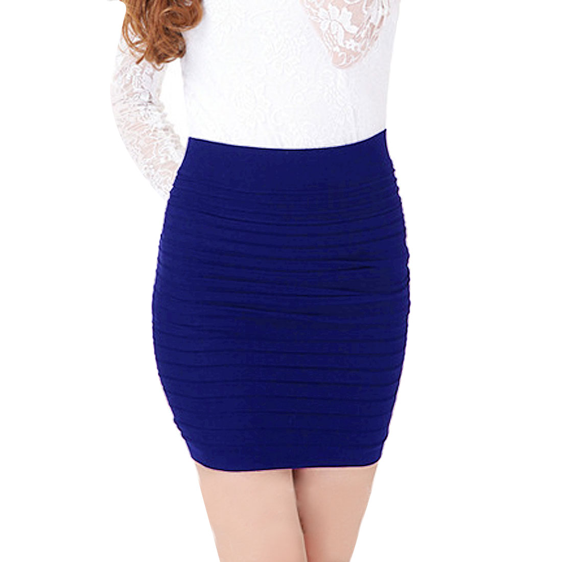 Hip Hugging Layered Stretch Mini Skirt Blue XS for Woman